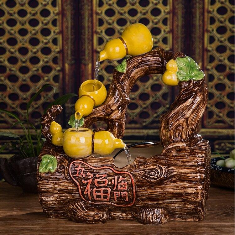 Ceramic Water Fountain Humidifier Home Furnishing Desktop Zhaocai Garden  Fengshui Round Five Blessings Descend Upon The House De
