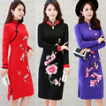 2016 winter women chinese traditional embroidery cheongsam lace patchwork short sleeve flower qipao dress sexy party chinese ele