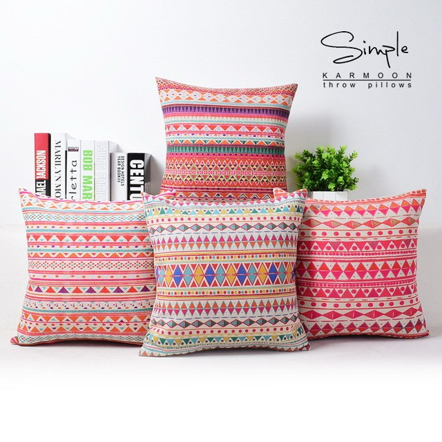 Bohemian Style Linen Cushion Cover Bohemian Pattern Throw Pillow Cases  Decorative Abstract Car Sofa Cushions Covers