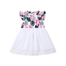 цена на Toddler Kids Girl Flower Tulle Dresses White Princess Pageant Wedding Bridesmaid Dress for Children