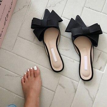 2018 wiosenne i letnie buty damskie koreański satyna jedwabna wskazał muszka kapcie Baotou płaski obcas ustawia pół kapcie
