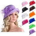 10 unids Color sólido para mujer verano del Organza Bowler Sun sombrero Kentucky Derby Tea Party