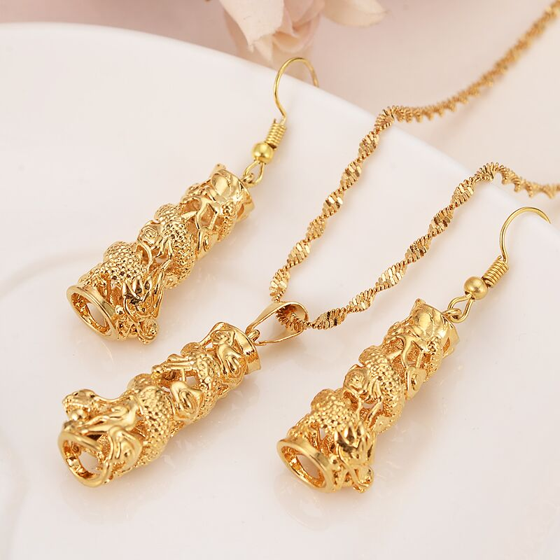 african dubai india arab Pendant Earring Set 24 k Fine Gold Filled principal column dragon Necklace Earrings Jewelry Sets