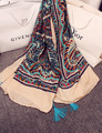 Дизайнер хиджаб шарф люксовый бренд мусульманский хиджаб 2016 женщины осень зима Испания стиль этнических чешского долго печати шарф с кистями