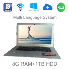 2017 14 inch slim laptop Intel Celeron J1900 2.0GHz 8G ram 1TB HDD windows 10 system tablet built in camera for discounts