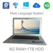 2017 14 pulgadas portátil delgado Intel J1900 Celeron 2.0 GHz 8G ram 1 TB HDD windows 8/10 sistema de tableta construida en cámara para descuentos