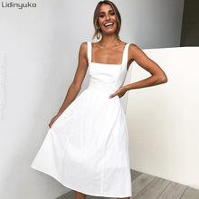 2019 Rushed Plus Size Dress Women Summer Hot Simple Sling Sexy Backless Polyester Fabric Solid Color Elastic A Word Long