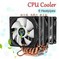 6 Copper Heat Pipes Dual Tower PC CPU Cooler 3Pin Cooling Fan Cooler Heatsink Radiator for LGA 1150/1151/1155/1156/1366/775