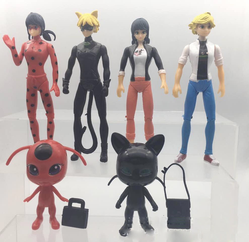 6pcs set miraculous ladybug cat noir adrien marinette pvc. Black Bedroom Furniture Sets. Home Design Ideas