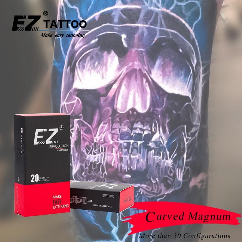 EZ Revolution Tattoo Needles Cartridge Magnum Curved Round Magnum # 10 (0.30 mm )  Long Taper 5.5 mm Tattoo Supply 20 pcs /box