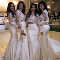 2017 High Neck Long Sleeves Two Piece Mermaid Bridesmaid Dresses Sheer Lace Top Long Wedding Party Dress maid of honor BN156