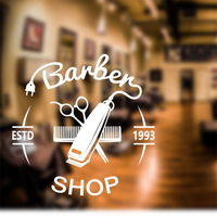 Barber Shop Sticker Bread Decal Haircut Hair Clipper Shavers Poster Vinyl Wall Art Decals Decor Windows
