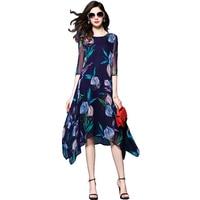 silk women dresses 2018 summer new A line floral printed lady loose elegant vintage dresses top quality