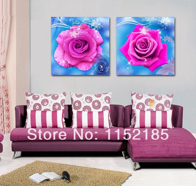 Free shipping classic red rose blue flower paintings 2 panel canvas ...