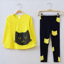 2016new fashion spring autumn gril baby clothes cotton cuteprint carton cat 2pcs long sleeve t-shirt+long leggings set kids suit