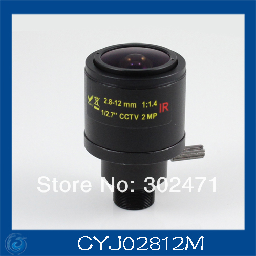 cctv camera lens2.8-12mm Fixed Iris lens, 1/2.7  12x0.5 Mount  Fixed F1.4  for Security Camera, Free shipping cs 8mm cctv camera lens fixed iris monofocal alloy with nail