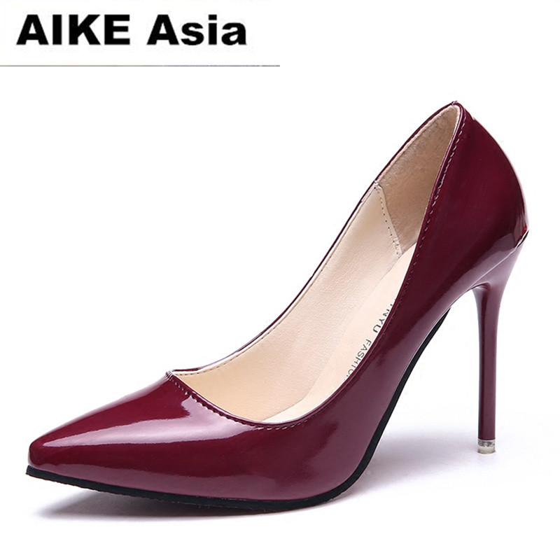 2018 HOT Women Shoes Pointed Toe Pumps Patent Leather Dress  High Heels Boat Shoes Wedding Shoes Zapatos Mujer Blue wine red