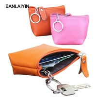 New High Quality Cow Split Leather Women Mini Wallet Leather Coin Purse Coin Credit Card Holder With Metal Ring