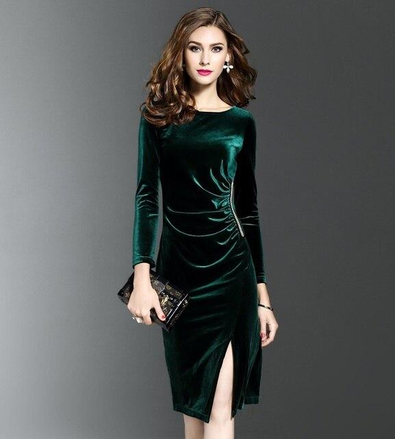 2018 Autumn  winter  New pattern  velvet  Dress  Long sleeves  Repair the body  Forking Women dress Blouses