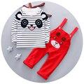 2016 Nueva ropa del bebé del Otoño muchachos fijados ropa de la manga completa con rayas al por mayor panda imprimir A1007