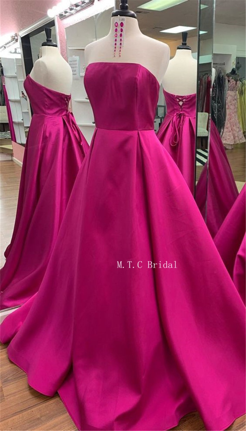 Elegant Hot Pink Satin Formal Evening Dress Strapless A Line Lace Up Back Long Sexy Prom