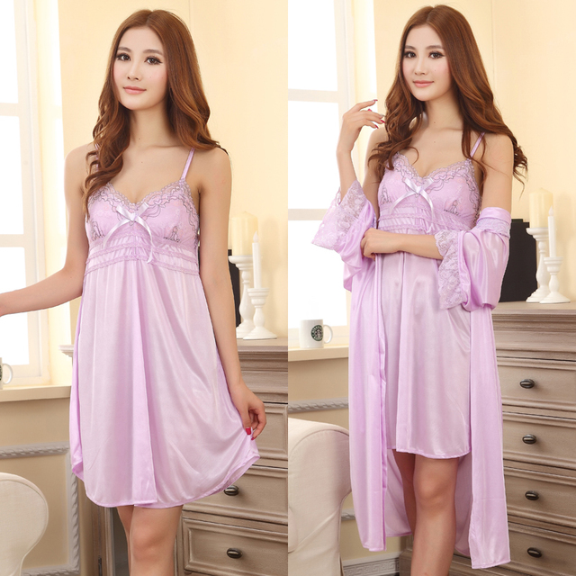 Free shipping plus size M L XL XXL brand summer style purple sleepwear women nightwear sex Robe nightdress dress night 11 color