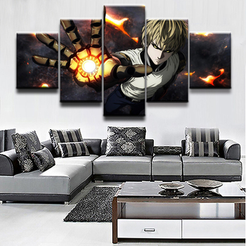 Wall Art Canvas Paintings For Living Room Home Decor 5 Pieces Anime One-Punch Man Genos Pictures Modular Posters Framework