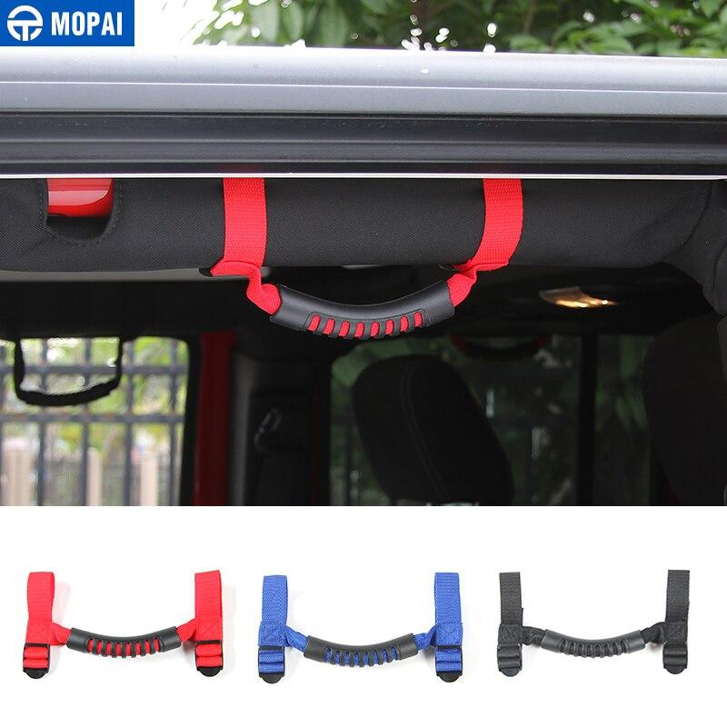 MOPAI tela Oxford Interior del coche apoyabrazos montaje de la barra antivuelco lado asa para Jeep Wrangler TJ CJ YJ JK JL estilo de coche