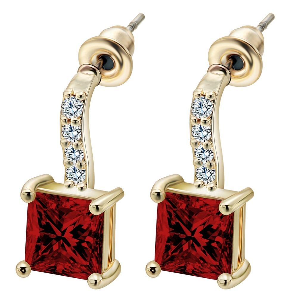 13475f3c8df2 Qiamni colorido corazón joyería cubic zirconia piedra Pendientes moda  mujeres favoritos Pendientes de Aro para damas elegantes