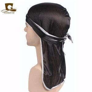 Unisex Men Women Satin Breathable Bandana Hat Silky Durag do doo du rag long tail headwrap