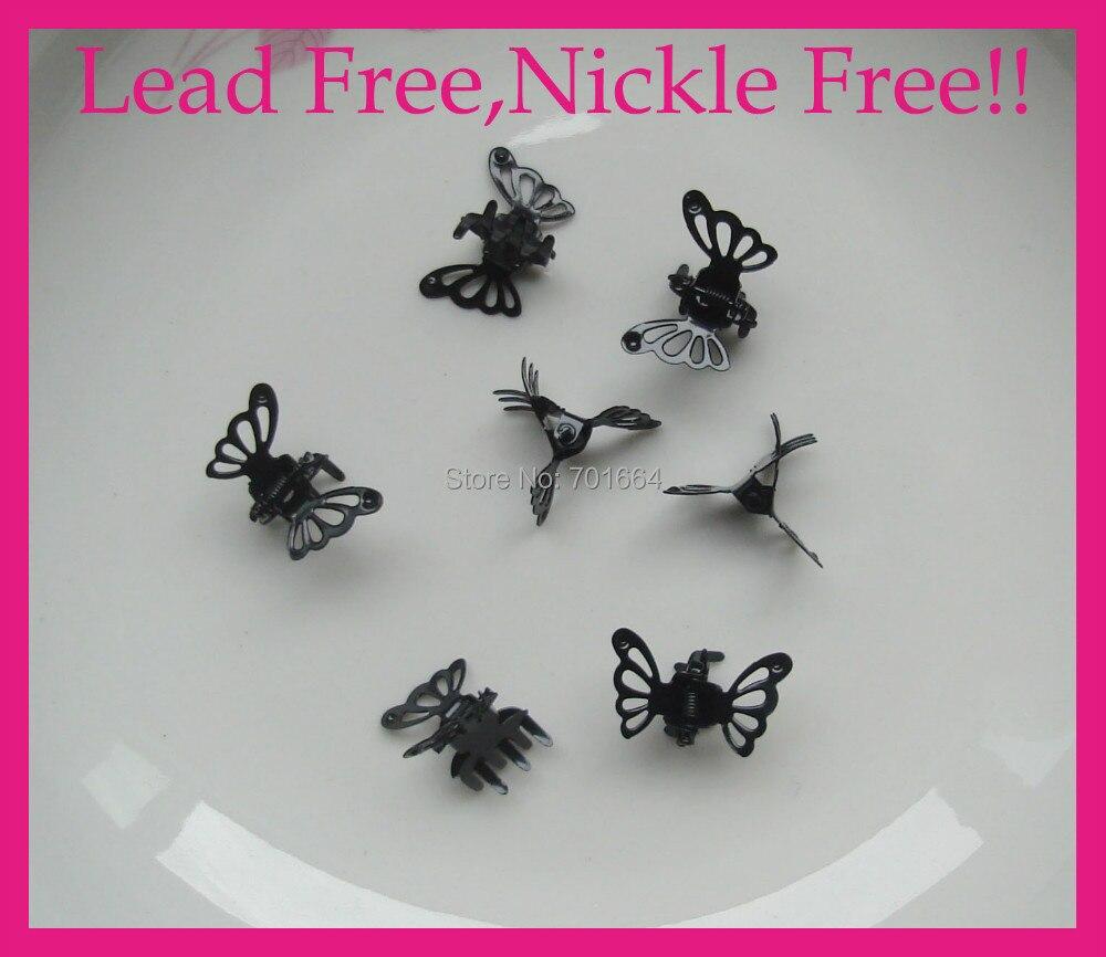 50 шт Черный Простой филигранный металлический коготь для волос с бабочкой без свинца и никеля, Оптом