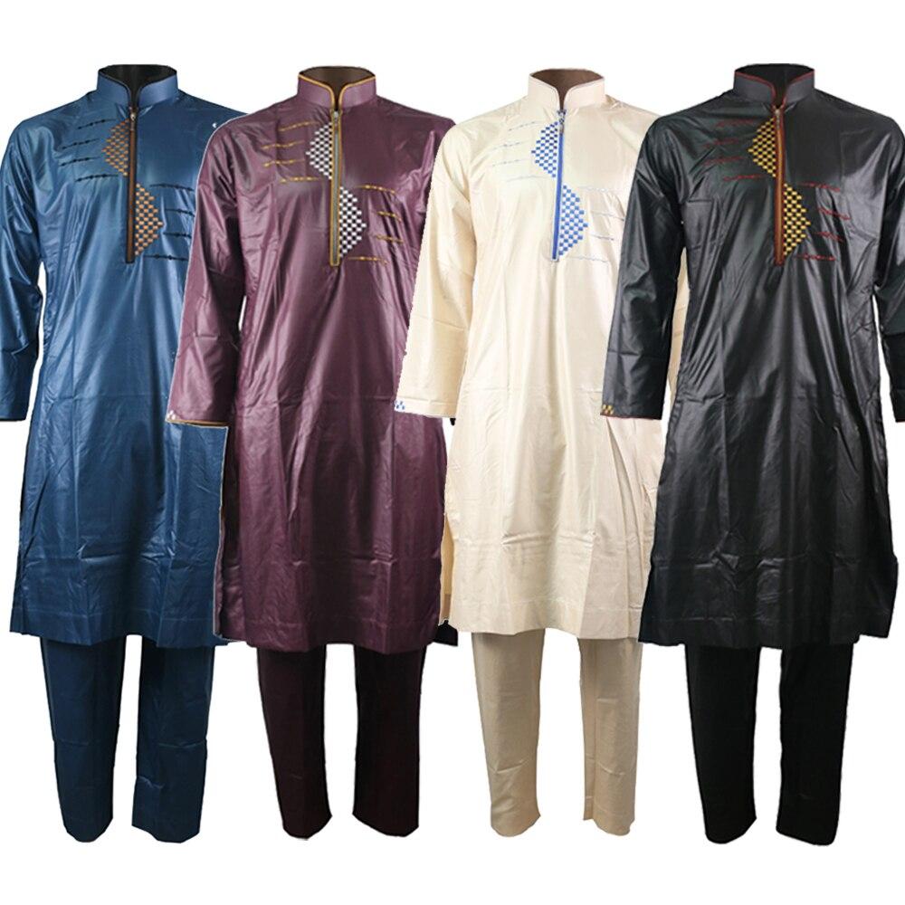 Thobe For Mens Kaftan Men Muslim Embroidery Suit Pakistan Mens Clothing Jellaba Turkish Indian Men Clothes Pants UAE Muslim Sets