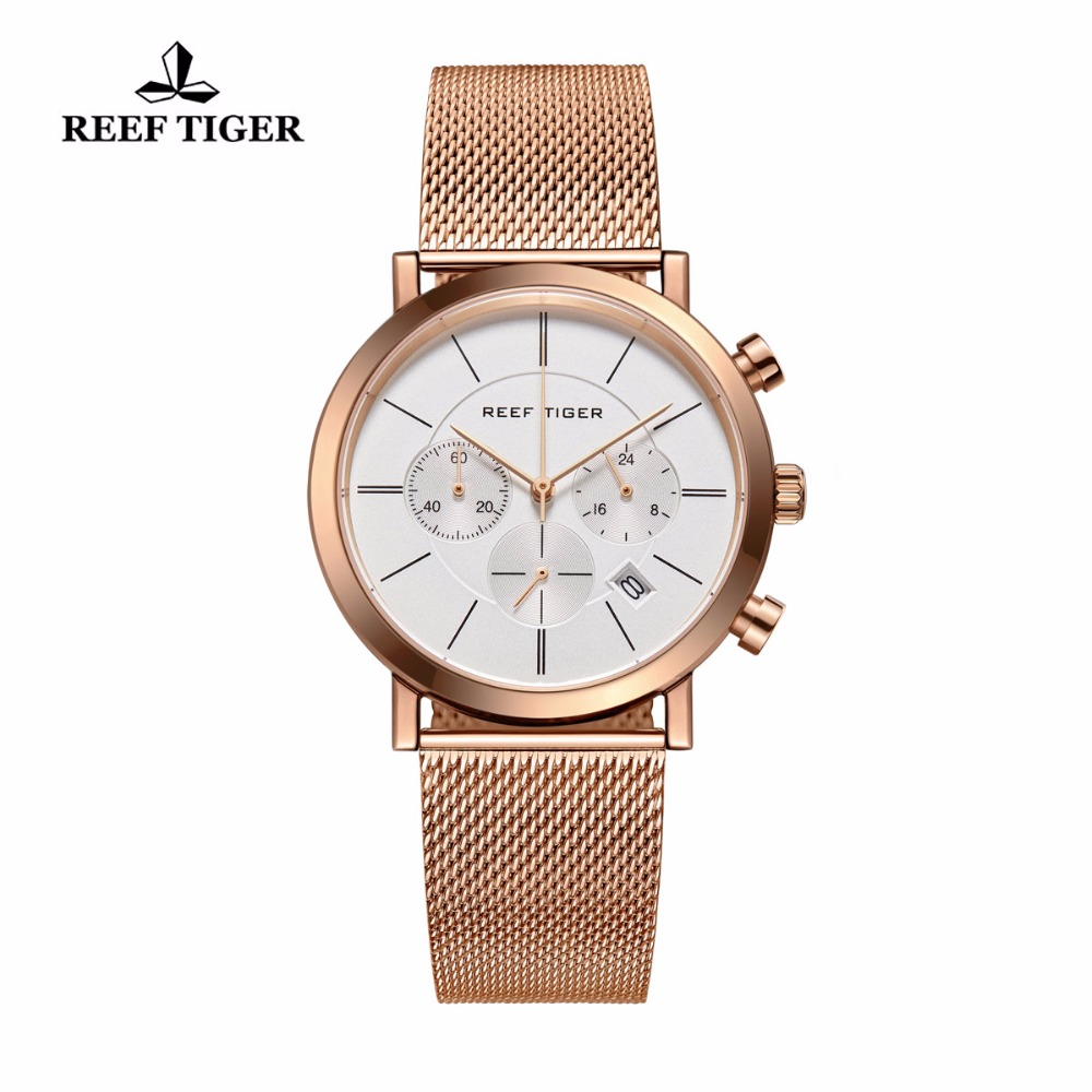Reef Tiger/RT Ultra Thin Full Rose Gold Quartz Watches with Date Luxury Chronograph Watch for Men RGA162 все цены
