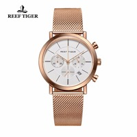 Reef Tiger/RT Ultra Thin Full Rose Gold Quartz Watches with Date Luxury Chronograph Watch for Men RGA162
