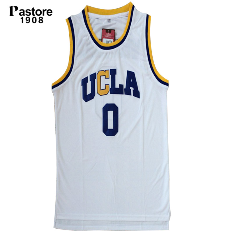 Prix pour Pastore1908 Mens Basketball Russell Westbrook UCLA Jersey #0 Broderie Logo Blanc Sans Manches À Séchage Rapide Respirant Fitness Tops