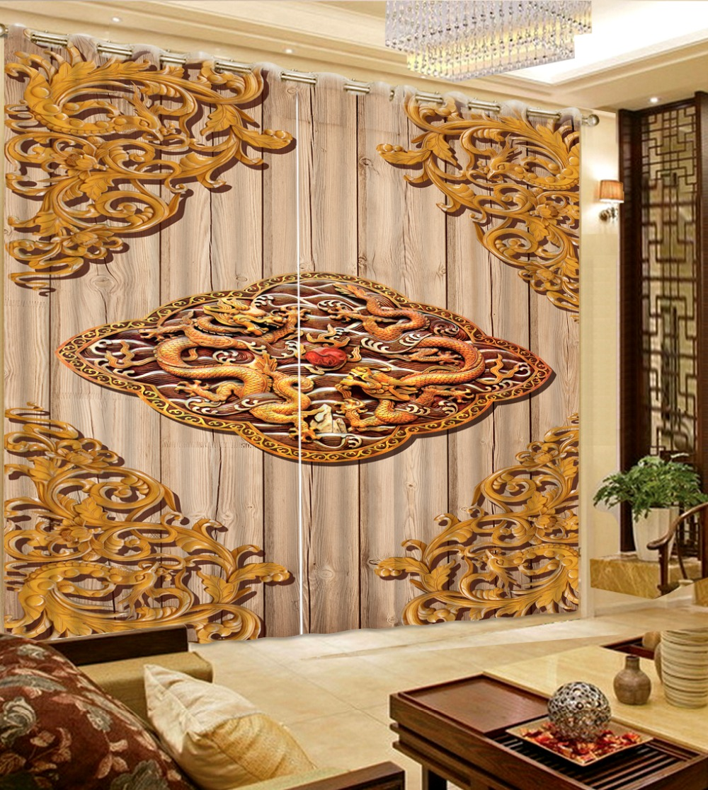 Rideaux tissus maison chambre décoration personnalisé toute taille 3D rideau en bois planche fond gravure Dragon rideaux pour chambre