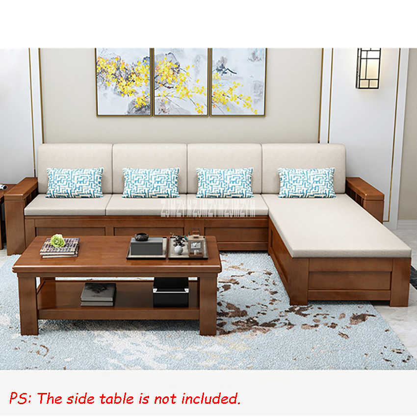 Living Room Solid Wood Sofa Combination Dual Purpose Corner ...