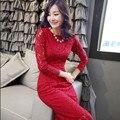 2015 de primavera y otoño de las nuevas mujeres de Corea del encaje de manga larga vestido vestidos delgado marea roja de Tres colores S-2XL sexy Femenina vestido