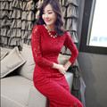2015 spring & autumn women new Korean lace long sleeved dress dresses slim red tide Three color S-2XL Female sexy dress