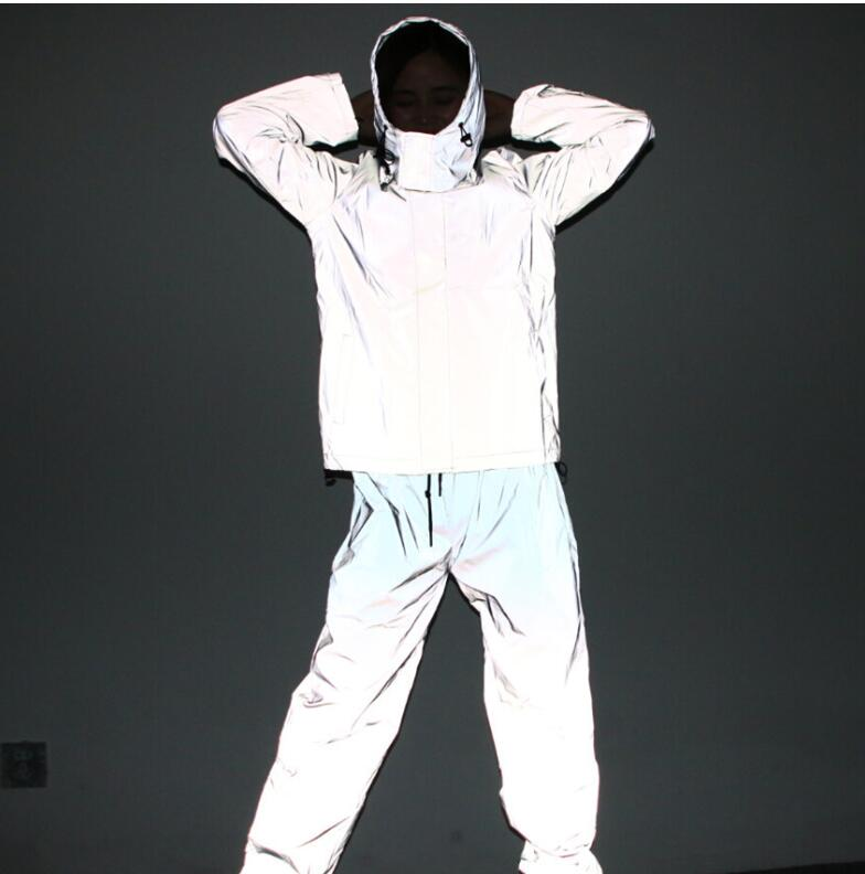 Reflective hip hop pants men joggers sweatpants men s streetwear night light shiny blink long pants Reflective hip hop pants men joggers sweatpants men's streetwear night light shiny blink long pants for couples