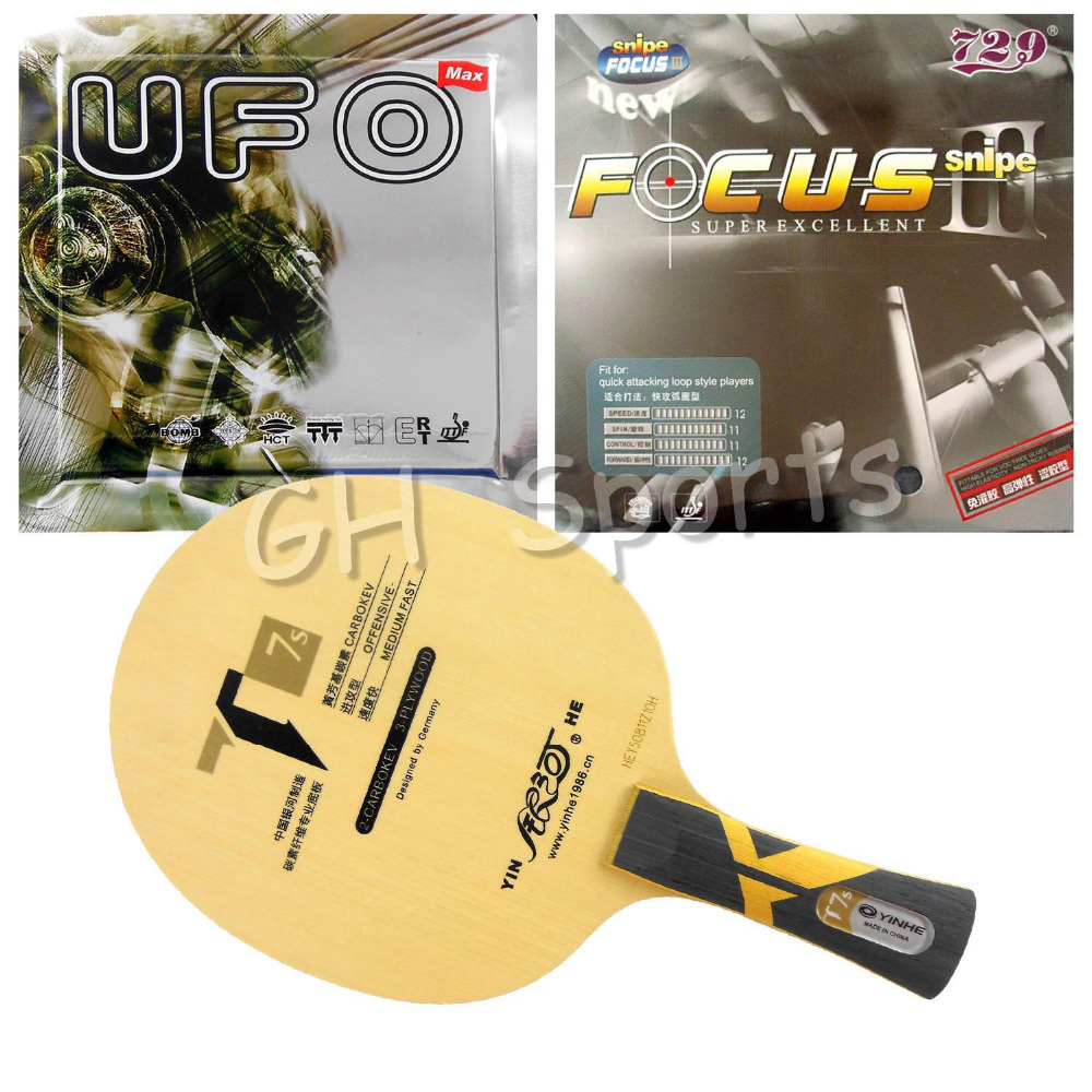 Original Galaxy Yinhe T7s blade with 729 Focus III 1.5mm and Bomb UFO rubber with sponge for a table tennis racket