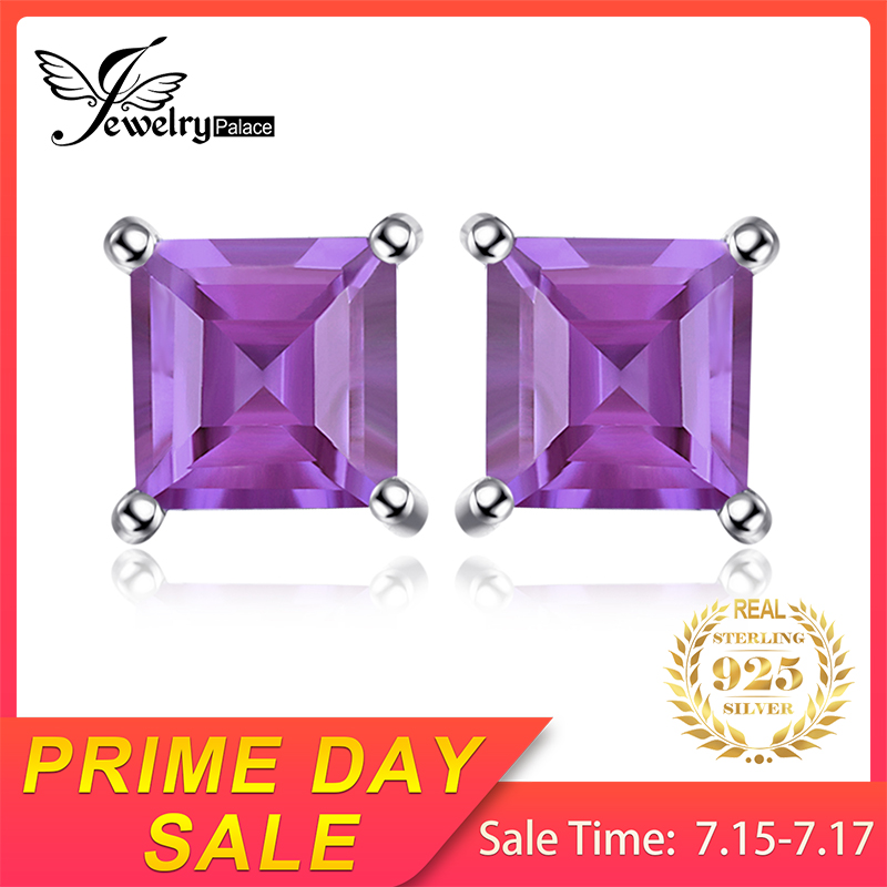 JewelryPalace Square 0.6ct Natural Amethyst Stud Earrings Solid 925 Sterling Silver High Quality Charm Purple Earrings For Girls