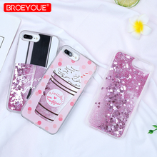 BROEYOUE Quicksand Case For iPhone 5 5S SE 6 6S Plus 7 8 Plus X Glitter Dynamic Liquid Drink Bottle Case Back Cover For iPhone perfume bottle style rhinestone inlaid back case w strap for iphone 5 5s white golden