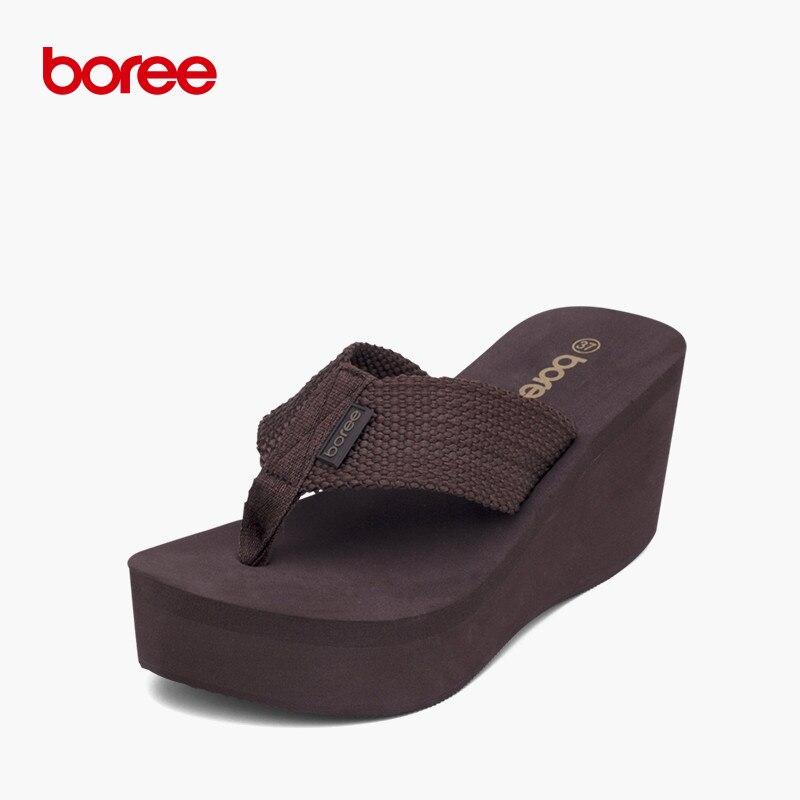 Boree الصيف الصنادل أزياء المرأة زحافات عارضة الأحذية الناعمة الحياكة منصة عدم الانزلاق سميكة سوليد النعال الشاطئ SDL008