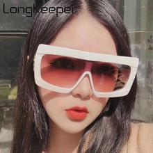 LongKeeper Vintage Oversized Sunglasses Brand Designer Square Sun Glasses Big Frame Trendy glasses UV400 Gafas