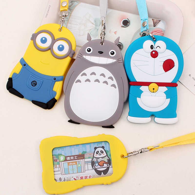 3 шт./партия Чехол для карт с героями мультфильмов Doraemon Totoro Миньоны силиконовый