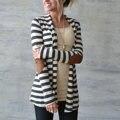 Новая Мода 2017 Осень Верхняя Одежда Женщины С Длинным Рукавом в Полоску Отпечатано Кардиган Случайный Колено Лоскутная Вязаный Свитер Плюс Размер