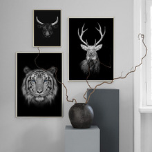 Tiger Deer Bison Black White Nordic Posters And Prints Wall Art Canvas Painting Africa Animal Pictures For Living Room Home