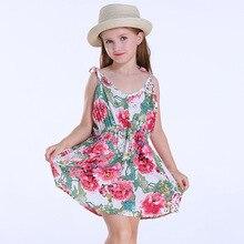 2018 Summer Baby Girl Clothes Sleeveless Flower Girl Dresses Floral Print Sling Beach Dress Casual Dress 6 Years Girls flower girl dress long party dress sleeveless girls dress child floral print