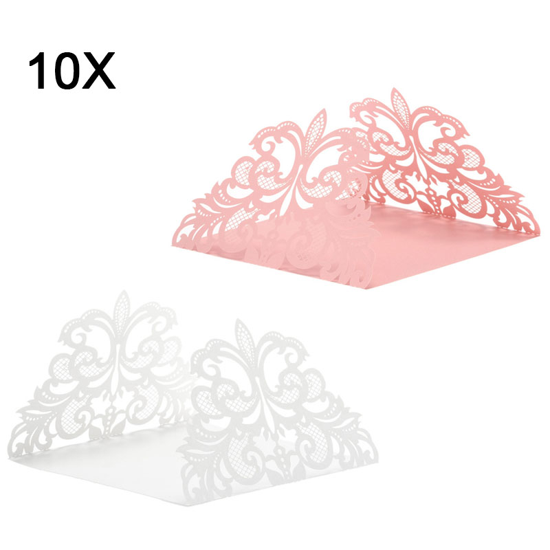 10 Pcs/ Set Wedding Party Invitation Card Decor Cards Envelope Delicate Carved Flower Wedding Party Supply @LS